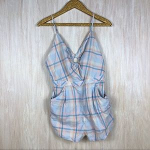 🍩Urban Outfitters Kimchi Blue Plaid Blue Romper